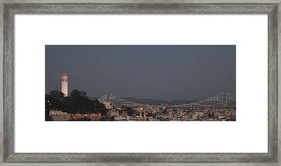 Coit Tower And Bay Bridge Framed Print