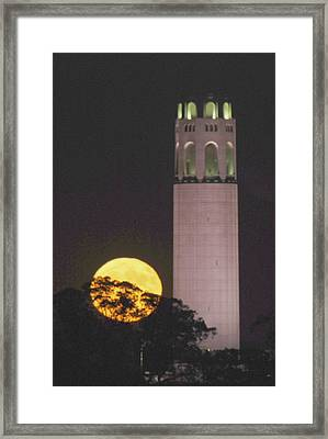 Coit Tower And Harvest Moon Framed Print