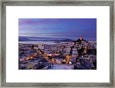 Coit Tower And North Beach At Dusk Framed Print by Photo by Brandon Doran