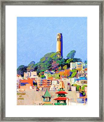 Coit Tower And The Empress Of China - Photo Artwork Framed Print by Wingsdomain Art and Photography