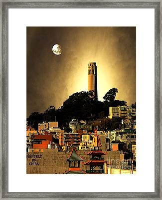 Coit Tower And The Empress Of China Under The Golden Moonlight Framed Print by Wingsdomain Art and Photography