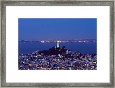 Coit Tower At Dusk San Francisco California Framed Print by Carol M Highsmith