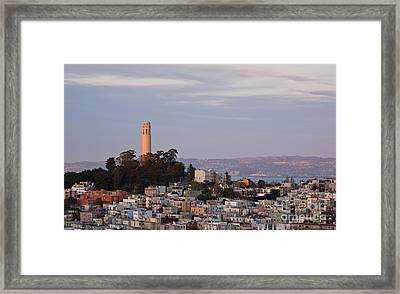 Coit Tower At Sunset Framed Print