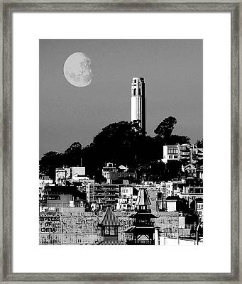 Coit Tower Empress Of China And The Moon - Black And White Framed Print
