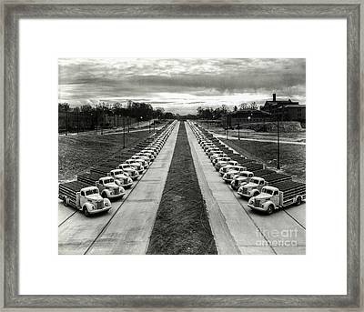 Coke Delivery Truck Fleet Framed Print by Jon Neidert