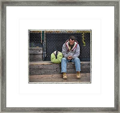 Cold And Alone No Comfort In Sight .... Framed Print