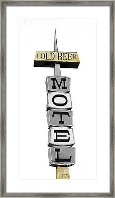 Cold Beer Motel Retro Sign Framed Print by Mindy Sommers
