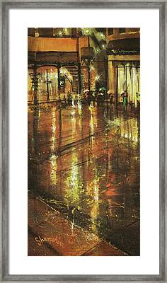 Cold Chicago Rain Framed Print