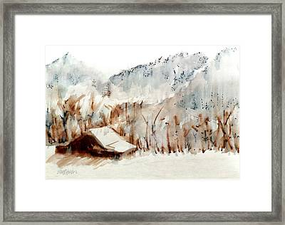 Framed Print featuring the mixed media Cold Cove by Seth Weaver