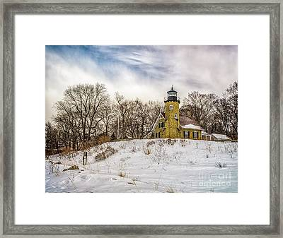 Framed Print featuring the photograph Cold Day At White River Lighthouse by Nick Zelinsky
