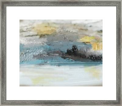 Cold Day Lakeside Abstract Landscape Framed Print