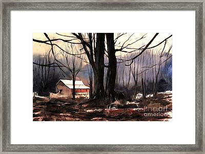 Cold Mists Behind The Ol Place Framed Print by Charlie Spear