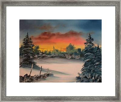 Cold Morning Sunrise Framed Print by Larry Hamilton
