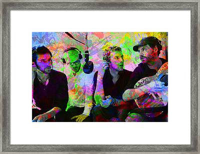 Coldplay Band Portrait Paint Splatters Pop Art Framed Print by Design Turnpike