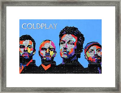 Coldplay Band Portrait Recycled License Plates Art On Blue Wood Framed Print