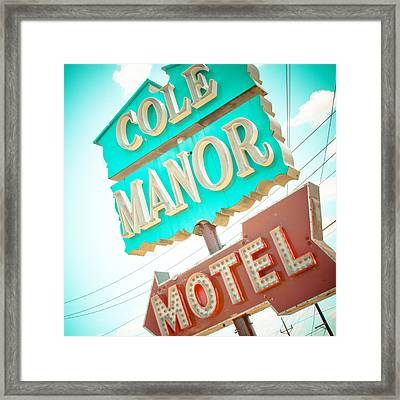 Cole Manor Motel Framed Print by David Waldo