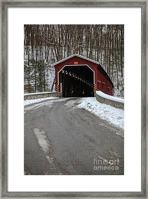 Colemansville Covered Bridge After Winter Snow Framed Print