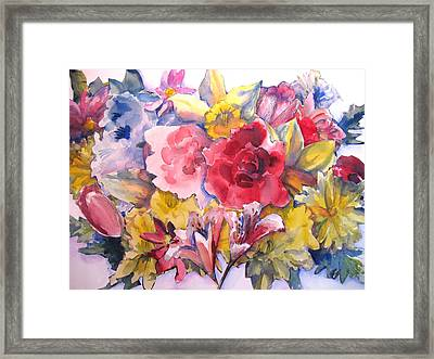 Collage Of Flowers Framed Print by Joyce Kanyuk