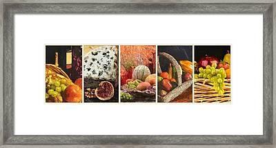 Collage  Of Fresh Fruit Paintings Framed Print by Elaine Plesser