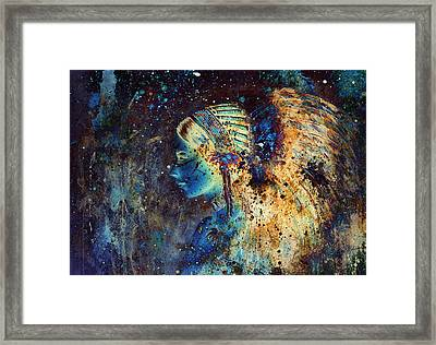Collage Painting Of A Young Indian Wcollage Painting Of A Young Indian Woman Wearing A Gorgeous Feat Framed Print by Jozef Klopacka
