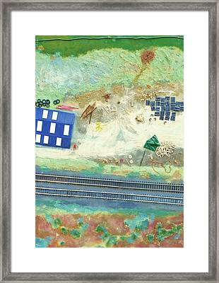 Railroad Yard With Shed From A Hot Air Balloon Framed Print by Nigel Radcliffe