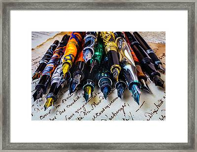 Collection Of Fountain Pens Framed Print by Garry Gay