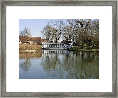 College Barge At Sandford Uk Framed Print