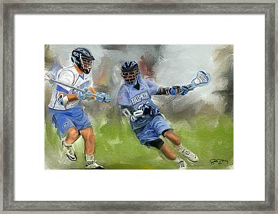 College Lacrosse Attack Framed Print