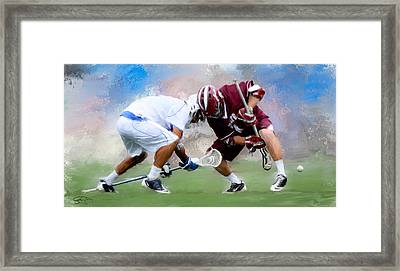 College Lacrosse Faceoff 4 Framed Print