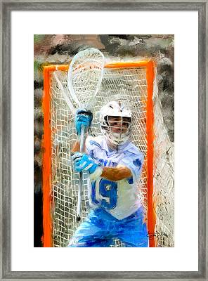College Lacrosse Goalie Framed Print
