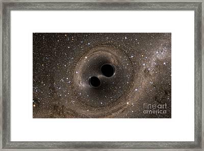 Colliding Black Holes Make Waves Framed Print by Science Source