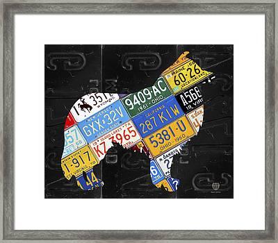 Collie Dog Pet Owner Love Vintage Recycled License Plate Artwork Framed Print