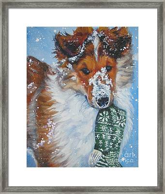 Collie Puppy With Xmas Stocking Framed Print by Lee Ann Shepard