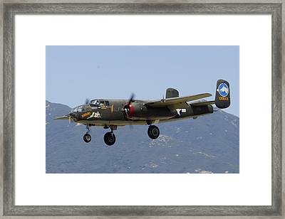 Collings Foundation North American B-25j Mitchell Tondelayo Framed Print by Brian Lockett