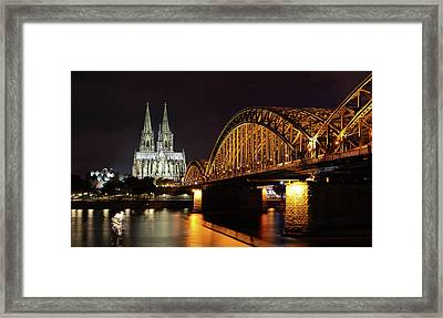 Cologne Cathedral And Bridge Framed Print by Holger Ostwald