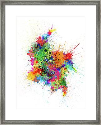 Colombia Paint Splashes Map Framed Print