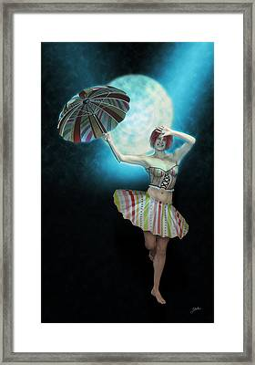Colombina In The Circus-azul Framed Print by Joaquin Abella