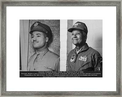 Colonel Charles Mcgee United States Fighter Pilot Then And Now Framed Print by John  Bradley