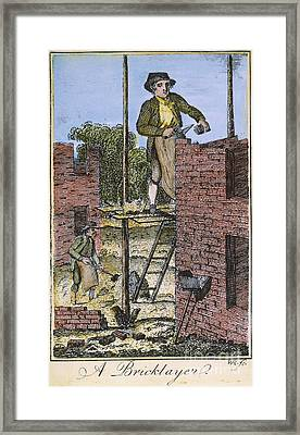 Colonial Bricklayer, 18th C Framed Print by Granger