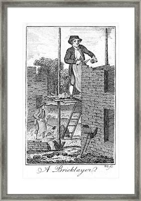 Colonial Bricklayer Framed Print by Granger