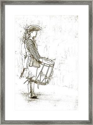 Colonial Drummer Portrait Sketch Framed Print by Randy Steele