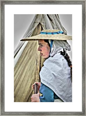 Colonial Girl In Army Camp Framed Print by Randy Steele