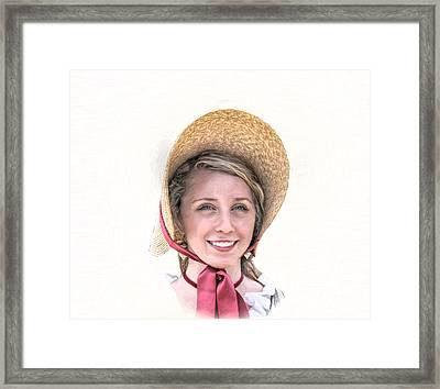 Colonial Girl With Hat Framed Print by Randy Steele
