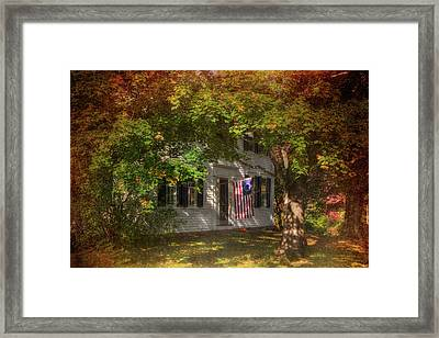 Colonial Home With Flag In Autumn Framed Print by Joann Vitali