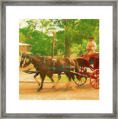 Colonial Horse And Carriage Framed Print