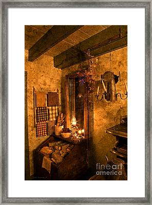 Colonial Kitchen Evening Framed Print