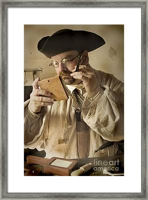 Framed Print featuring the photograph Colonial Man Shaving by Kim Henderson