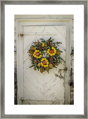 Colonial Nursery Door At Christmas Framed Print