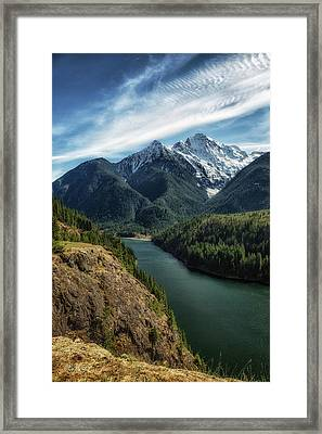 Colonial Peak Towers Over Diablo Lake Framed Print by Charlie Duncan