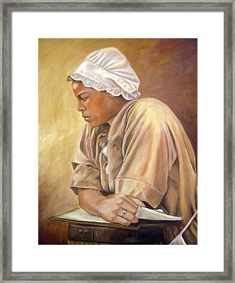 Colonial Serving Girl Framed Print